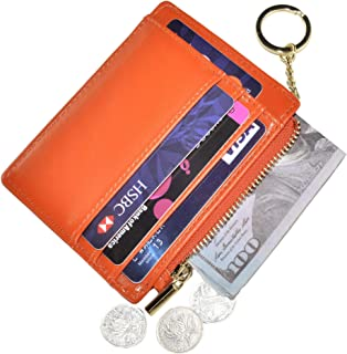 Womens Slim RFID Credit Card Holder Mini Front Pocket Wallet Coin Purse Keychain - Orange - Small