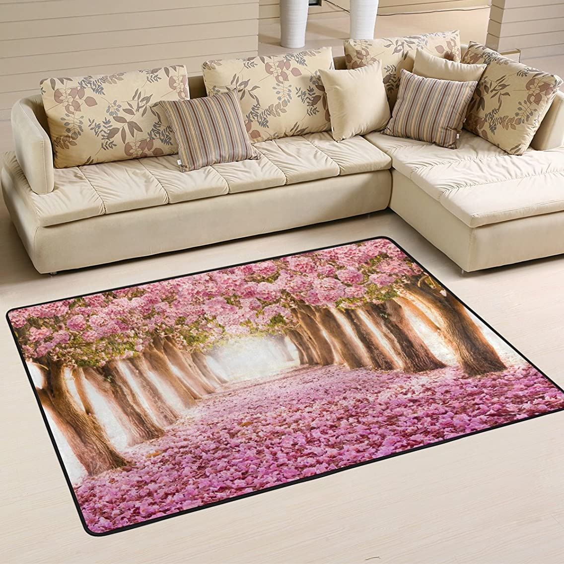 Naanle Flower Trees Area Rug 4'x6', Pink Cherry Blossom Polyester Area Rug Mat for Living Dining Dorm Room Bedroom Home Decorative