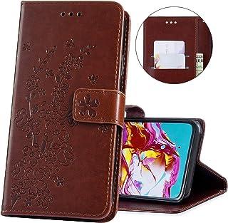 Felfy Kompatibel med Huawei P30 Pro fodral plånbok magnetiskt flip fodral glitter strass 3D blomma reliefmönster skyddande...
