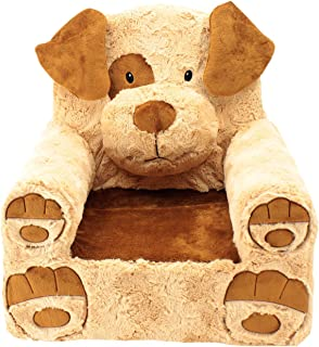 Animal Adventure Sweet Seats | Tan Dog Children's Chair | Large Size | Machine Washable Cover