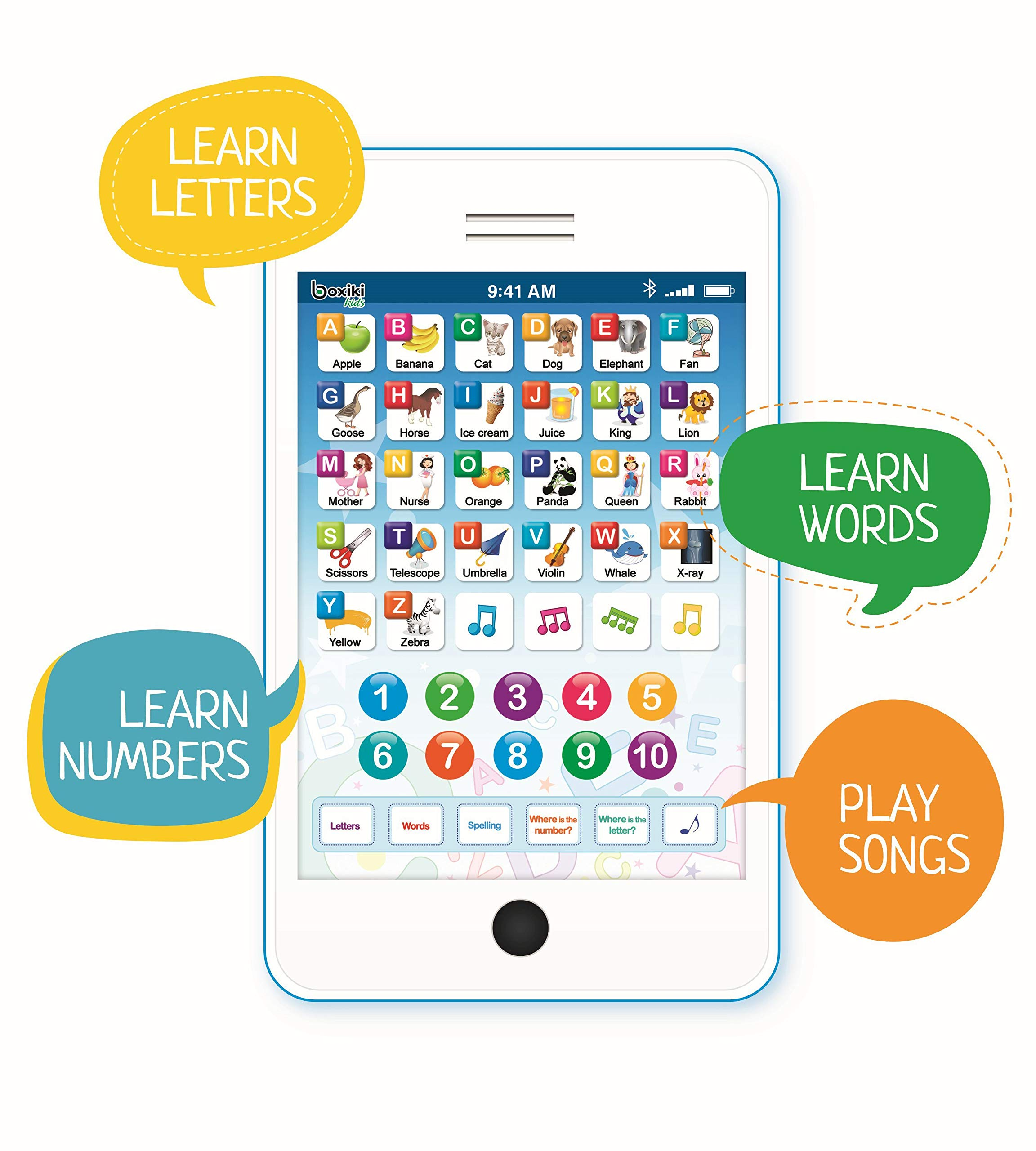 Learning Pad / Kids Phone with 6 Toddler Learning Games. Touch and Learn Toddler Tablet for Numbers, ABC and Words Learning. Educational Learning Toys for Boys and Girls - 3 Year Old
