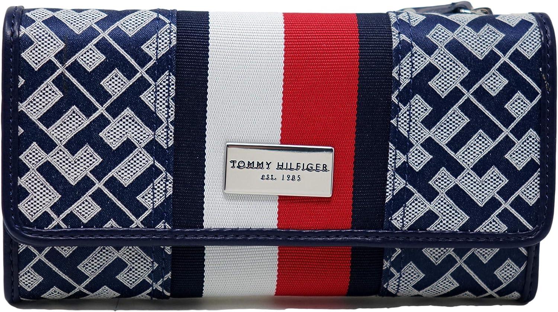 Tommy Hilfiger Women's Fashionable Logo Checkbook Wallet Navy Ranking TOP10 Clutch Bag - B