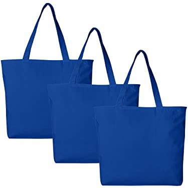 BagzDepot Canvas Tote Bag with Zipper - 3 Pack - Bulk Canvas Bags for Crafts, Groceries, Large Canvas Tote Bag for Women, Men, Kids, Teachers - Canvas Beach Tote Bag - (Royal Blue Tote Bags)
