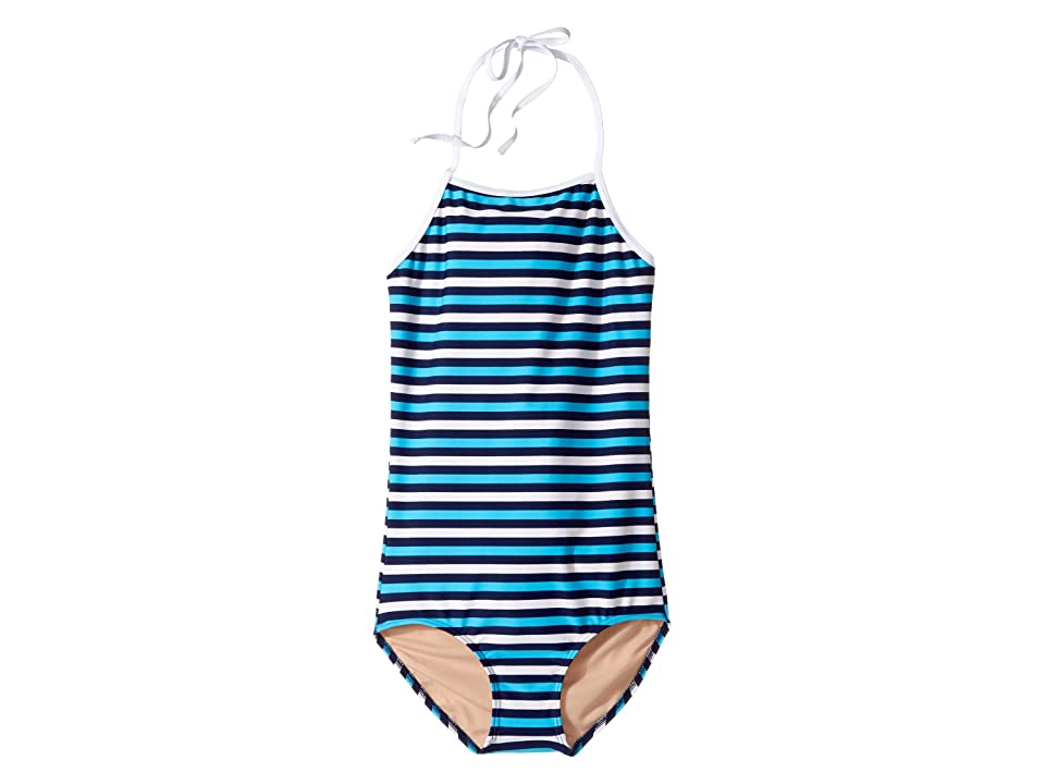 Toobydoo Multi Blue Stripe One-Piece (Infant/Toddler/Little Kids/Big Kids) (Navy/Aqua/White) Girl