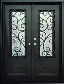 Abbott Exterior Front Entry Door Wrought Iron with Operable Tempered Cubit Glass 61.5