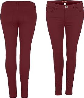 westAce Pantalones vaqueros ajustados elásticos de licra para mujer, talla 8-20, color negro, azul marino y blanco
