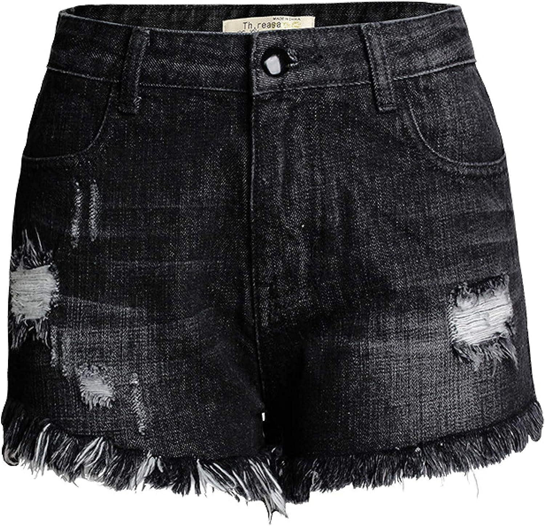 XINYIYI Women's Shorts Fashion Raw Edge Ripped Mid-high Waist Denim Shorts Personality