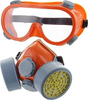 Ram-Pro Twin Cartridge Respirator with Safety Goggles - Full Face Respirator Gas Mask Professional Organic Vapor Reusable Respirator Widely Used in Paint, Dust, Chemical