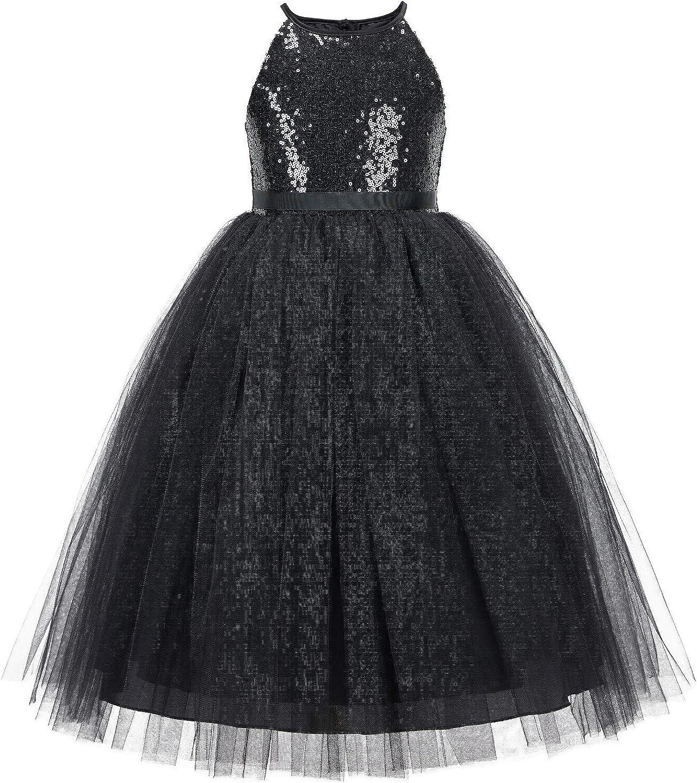 Sequin Halter Flower Girl Dress Junior Pageant Wedding Special Occasion 202