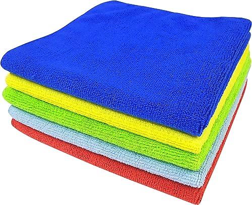SOFTSPUN Microfiber Cloth - 5 pcs - 40x40 cms - 340 GSM Multi-Color - Thick Lint & Streak-Free Multipurpose Cloths - ...