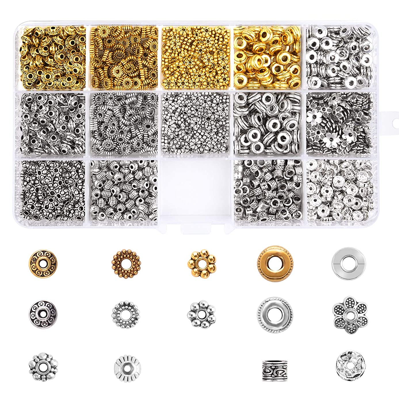 TUPARKA 700 Pcs Metal Spacer Beads for Charm Bracelet Necklace DIY Jewelry Accessories Making, Jewelry findings Accessories (14 Style)