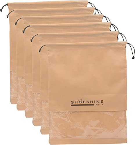 India Beige Fabric Shoe Bags For Unisex Large Pack Of 6