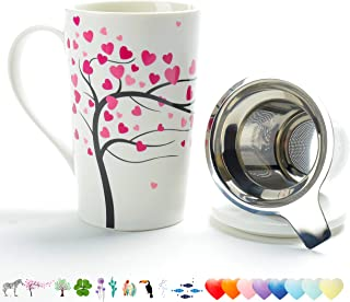 TEANAGOO M58-2 Porcelain Tea-Cup with Strainer and Cover Mom Dad Women, 18 OZ, Love Tree, Home Teapot Set with Steel Steeper, Tea-Mug Brewer Marker, Steeping Filter for Loose Leave Tea Gift