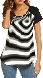 Women Striped Shirt Short Sleeve Raglan Baseball Tee Shirt Tops Crewneck Fashion Blouse