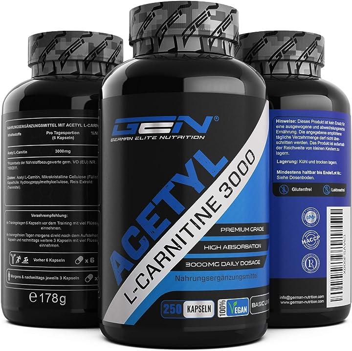 Acetyl l-carnitine 3000 gen german elite nutrition con 250 capsule - 3000 mg per porzione giornaliera B017L643R6