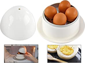 HOME-X Microwave Egg Boiler with Saucer for Hard-Boiled or Soft Boiled Eggs, Egg Microwave Cooker No Piercing Required, Di...