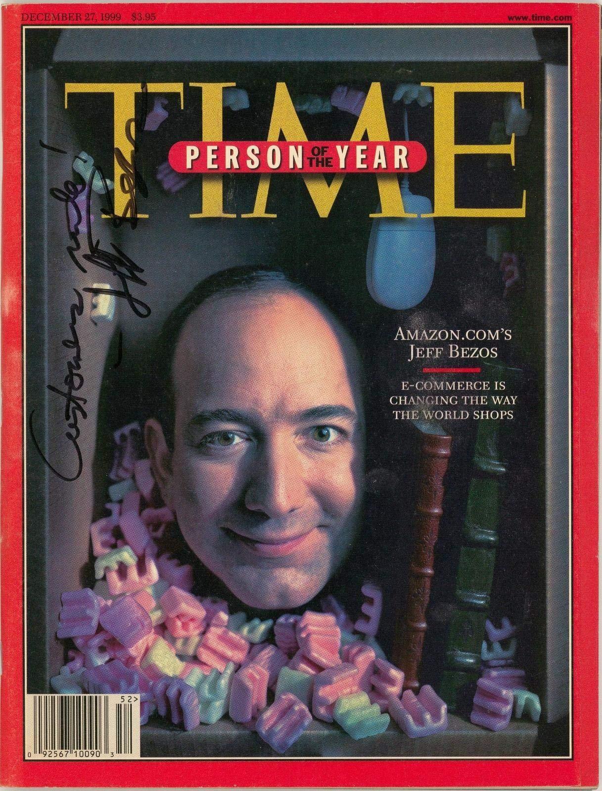 "Rare Jeff Bezos""Customers Rule"" Signed 1999 Time Magazine Man Of The Year - JSA Certified"