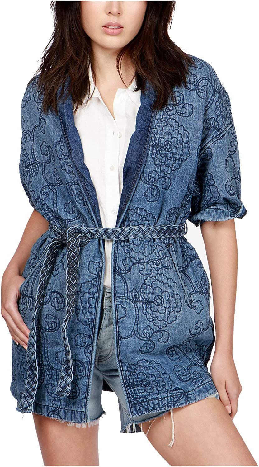 Lucky Brand Women's Floral Quilted Kimono Embroidered Jacket, bluee