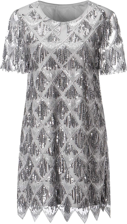 VVMCURVE Manufacturer regenerated product Courier shipping free Women's Sequin Fringe 1920 Dress Sequins Art Short Prom
