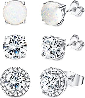 Jstyle Stud Earrings for Women 18K White Gold Rose Plated CZ Halo Earrings Creat