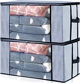 Seckon Zippered Storage Bags Organizer Container Jumbo Size[Pack of 2] Foldable Clothes Storage Bags Breathable Anti-Mold Material Closet Organization with Clear Window
