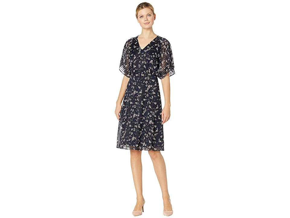 LAUREN Ralph Lauren B718 Floral Satin Livoti Short Sleeve Day Dress (Lighthouse Navy/Multi/Gold Metallic) Women
