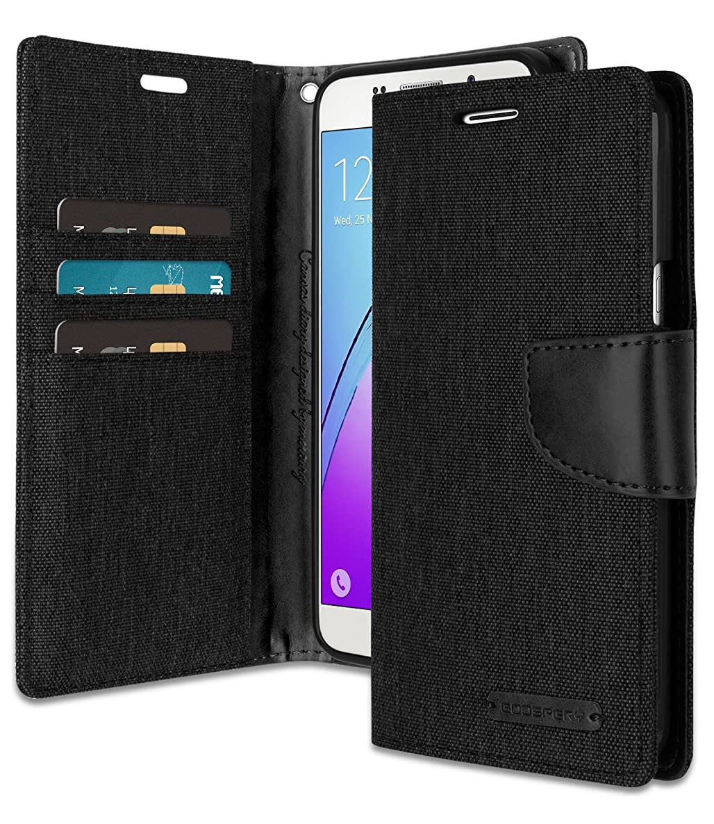 Galaxy A5 2016 Wallet Case with Free 4 Gifts [Shockproof] GOOSPERY Canvas Diary [Ver. Magnetic] Card Holder with Kickstand Flip Cover for Samsung GalaxyA52016 - Black, A52016-CAN/GF-BLK