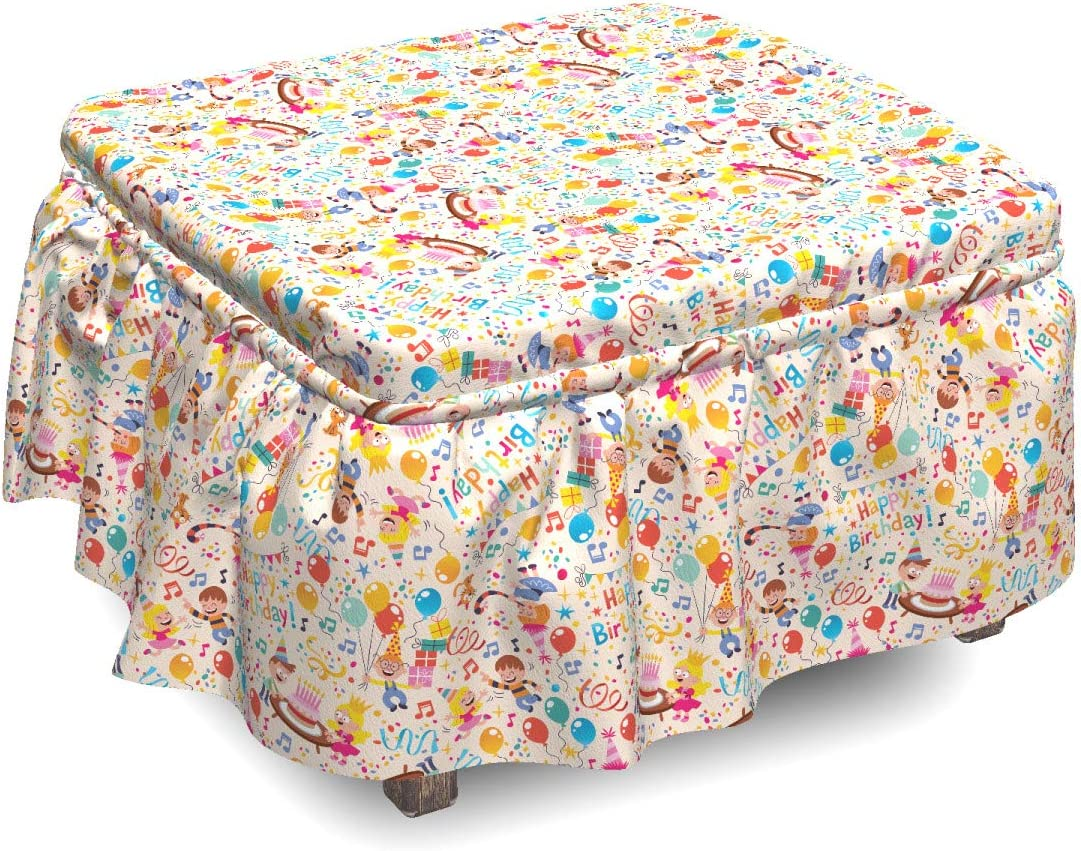 Genuine Free Max 90% OFF Shipping Ambesonne Birthday Ottoman Cover 2 Slipcover Piece Celebration