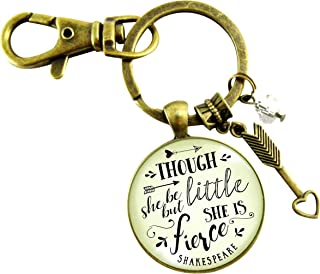 Though She Be But Little She Is Fierce Keychain Shakespeare Inspired Jewelry Glam Quote Pendant For Women Teen Gift