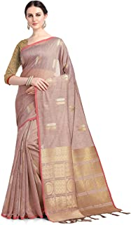 INsthah Women's Woven Linen Saree With Blouse Piece