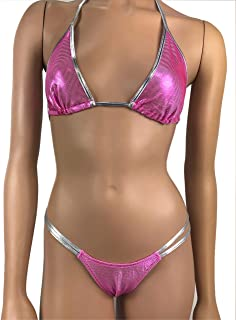 66e4c37c4 Exotic Dancewear G String Thong V String Thong Triangle Bikini Top Rave  Outfit Clubwear Sparkle Pink