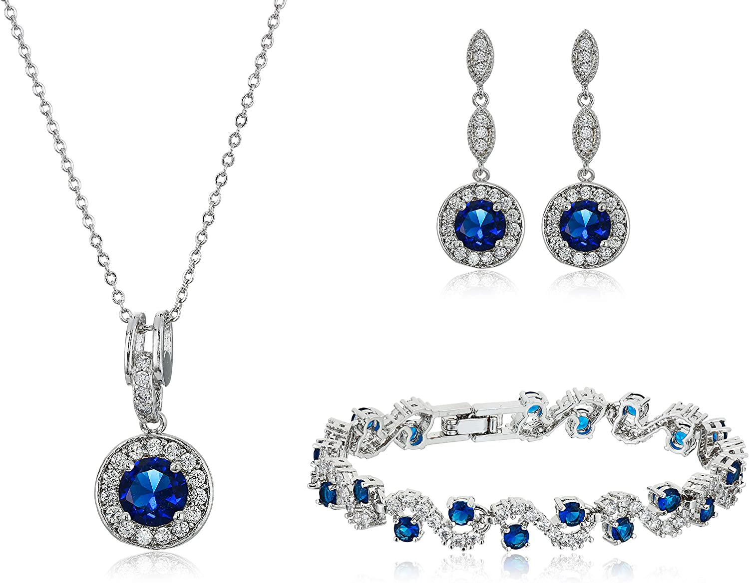 Crystalline Azuria Jewelry Sets for Women - Premium Wedding Jewelry Sets - Bridal Jewelry Set with Necklace and Earring for Bride - Cubic Zirconia Bridesmaid Jewelry - Fashion Prom Costume Jewelry