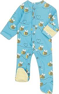 Piccalilly Grenouillère bébé avec pieds, coton bio sans produits chimiques, motif abeille unisexe pour bébé garçon ou fille
