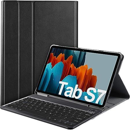 IVSO Teclado para Samsung Galaxy Tab S7 (QWERTY English), para Samsung Galaxy Tab S7 11.0 Teclado, Funda con Removible Wireless Teclado para Samsung ...