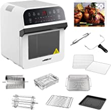 GoWISE USA GW44802-O Deluxe 12.7-Quarts 15-in-1 Electric Air Fryer Oven w/Rotisserie and Dehydrator + 50 Recipes, X-Large, White