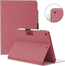 VECO iPad Air 3 Case with Pencil Holder 2019, [Denim Series] Premium Flip Stand Case, Soft TPU Back Cover [Auto Sleep/Wake Feature] for Apple New iPad Air 3rd Generation (Rose red)