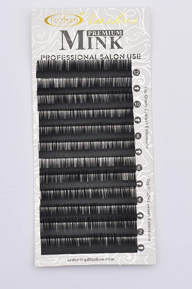 乗算調子典型的なまつげエクステ 太さ0.10mm(カール長さ指定) 高級ミンクまつげ 12列シートタイプ ケース入り (0.10 15mm D)