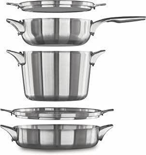 Calphalon Premier Space Saving Stainless Steel Supper Club Set 5-Piece Silver 43217-77025