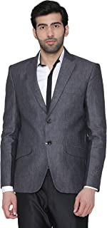 WINTAGE Men's 100% Linen Wedding and Evening Blazer Coat Jacket : Grey, Large