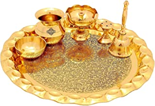 Dhrita Brass Puja Thali Set, Religious Spiritual Item, Home Temple.