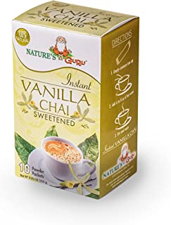 Nature's Guru Instant Vanilla Chai Tea Drink Mix Sweetened 10 Count Single Serve On-the-Go Drink Packets