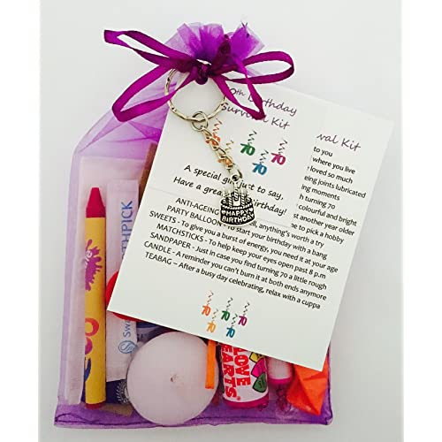 70th Birthday Survival Gift Kit Fun Happy Present For Him Her Choose