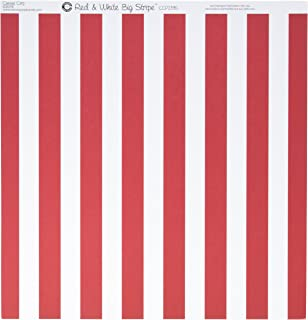 """Canvas Corp 27113341Printed Single-Sided Cardstock 12""""X12""""-White & Red Stripe 15 per Pack"""