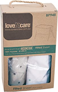 Love N Care Dreamtime and Moonlight Fitted Sheets, White2 Count