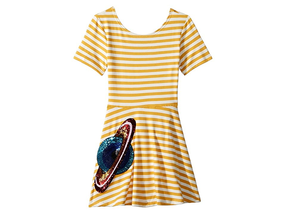 fiveloaves twofish Skater Stripe Saturn Dress (Toddler/Little Kids) (Mustard) Girl