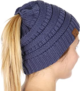 Plum Feathers Beanie Tail Soft Stretch Cable Knit Messy High Bun Ponytail Beanie Hat