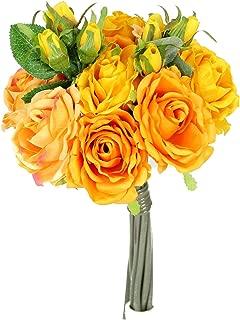 JenlyFavors Rose Silk Flower Bouquet Apricot