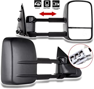 ECCPP Towing Mirror Pair Side Mirror Replacement for 1997 1998 1999 Ford F150 F250 Standard Extended Cab (Not for 4 Doors Crew Cab Models) with Power Telescopic Manual-Folding - Textured Black