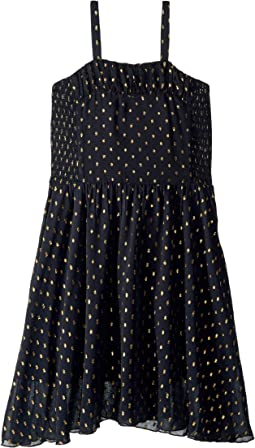 Sweetie Sleeveless Tulle Overlay Gold Polka Dot Dress (Toddler/Little Kids/Big Kids)