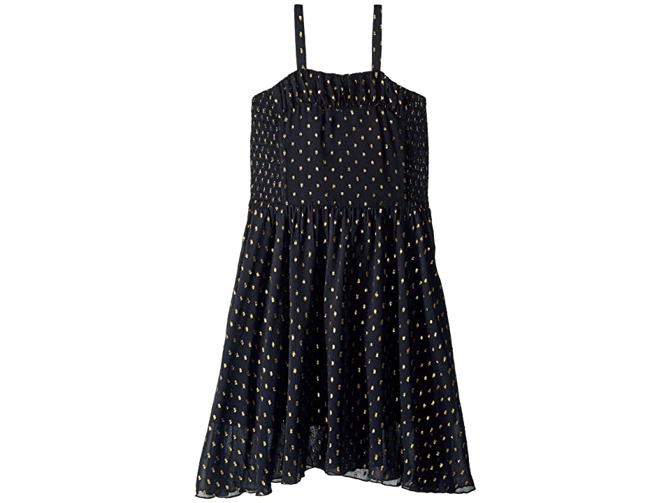 Stella McCartney Kids Sweetie Sleeveless Tulle Overlay Gold Polka Dot Dress (Toddler/Little Kids/Big Kids) (Black) Girl